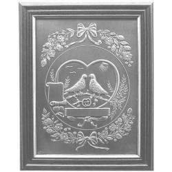 trouwplaat midden hout 2 duifjes hart 29x23cm